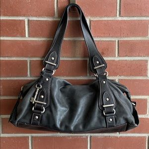 Black Fossil Leather Shoulder Bag